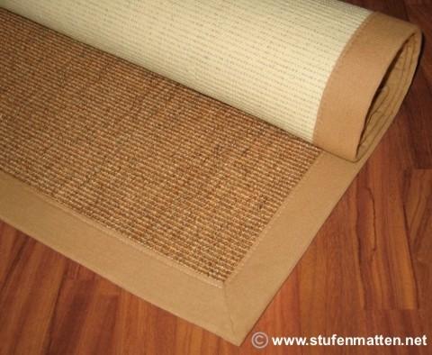 Sisal Teppich Rio braun mit beiger Bordüre