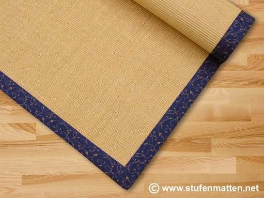 Sisal Teppich Rio natur mit blauer Bordüre Ranke