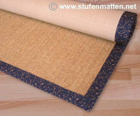 Sisal Teppich Rio braun mit blauer Bordüre Ranke