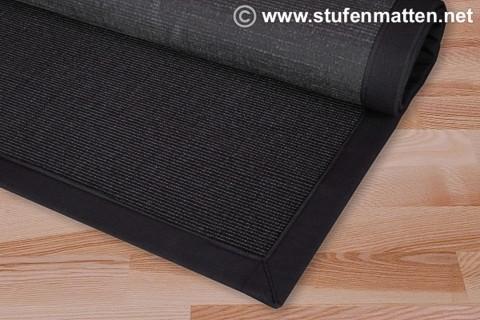 Sisal Teppich Rio anthrazit mit schwarzer Bordüre